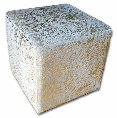 """Metallic Cowhide Cube Ottoman Footstool Size is 16 """"X 16"""" 16"""" Gold on Off white"""