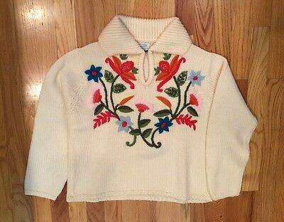 Vintage 50s Womens ROSANNA KNITTED  Sweater Wool Embroidered Floral Size Small