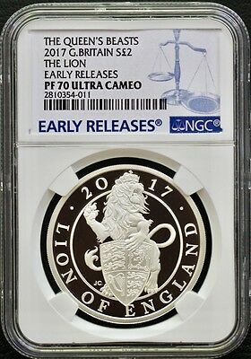 "2017 G Britain The Queen's Beast ""The Lion"" NGC PF70 Early Releases-Nice Price!"