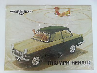 Triumph Herald 1200 Metal Advertising Sign - Standard Triumph British Car -Beach