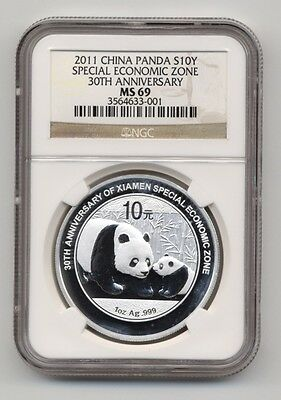 2011 CHINA PANDA XIAMEN ECONOMIC ZONE 30TH 1oz Silver Commemorative NGC MS 69