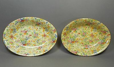 2 Vtg Royal Winton Grimwades China Chintz Floral Feast Oval Vegetable Bowls