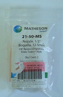 """Matheson Select 21-50-MS Nozzle 1/2"""" (12.5mm) Qty 2 Tweco Style 1/8"""" Recess"""