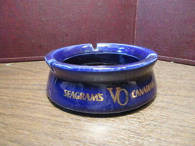Vintage Pottery Ashtray Seagram's VO Canadian - Imported Whiskey - Blue Glaze