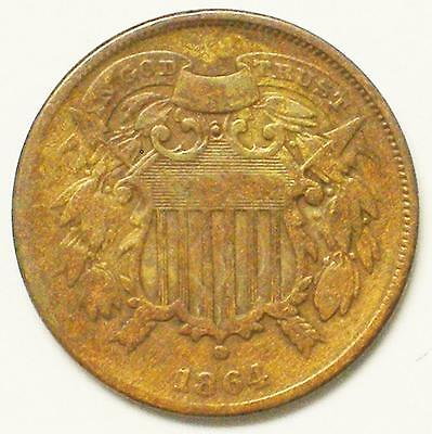 1864 2C Small Motto Two Cent Piece Coin VERY NICE PIECE