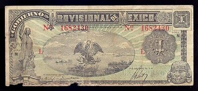 B-D-M Mexico Revolutionary 1 peso 1916 Pick S710 BC- G