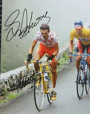 cyclisme cycling 3 autograph LANCE ARMSTRONG VIRENQUE feuille 22X28 cm signe