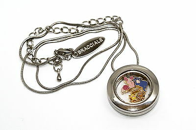 Bracciale Disney Round Locket Necklace Floating Tigger Piglet Floating Charms