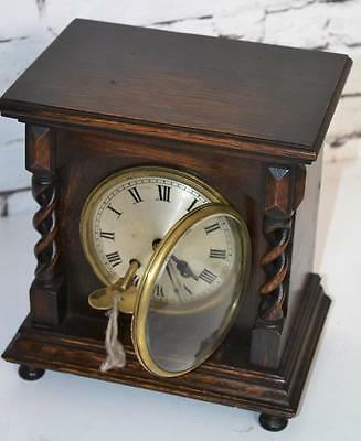 Antique English COVENTRY ASTRAL Oak Barley Twist Mantel Clock [PL3401]