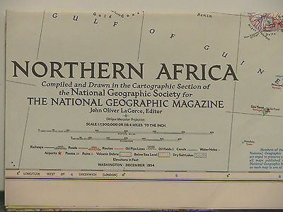 1954 National Geographic Map of Northern Africa