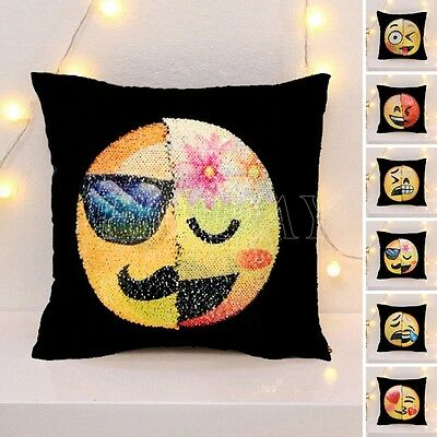Sequin Mermaid Pillow Emoji Expression Cushion Cover Reversible Funny Home Decor