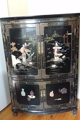 Chinese Corner  Cabinet With Stone Carvings