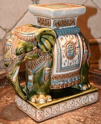 Vintage Elephant Figurine Cermaic Hand Painted India Green Blue Ornate Pedestle