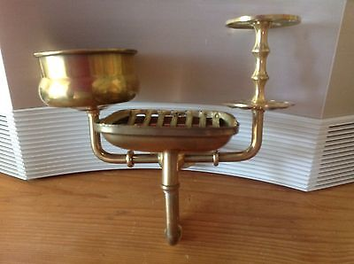 Vintage Brass Wall Mount Bathroom Fixture Soap Dish Cup And Toothbrush Holder