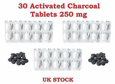 30 Activated Charcoal Tablets 250 mg – Indigestion, Detox, Wind, Heartburn
