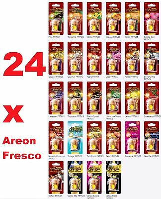24 x Air Freshener Areon Fresco MIX Car Aroma Quality Perfume Tree HOME OFFICE