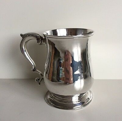 George II Silver Hallmarked Georgian 1 Pint Tankard London 1758