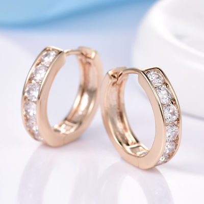 18K Yellow Gold Diamond Hoop Earrings    257