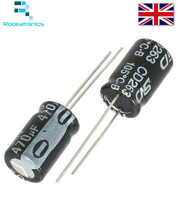 1uF-470uF Electrolytic Capacitor Range Rated 16 - 50V High Quality Free Postage