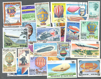 Balloons-Zeppelins-Dirigibles 300 all different stamps collection-Aviation