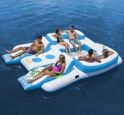 Giant Inflatable Raft Floating Island Six Person Water Fun Cooler Cup Hold New