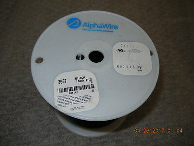 Alpha Wire 3057 BK001 Stranded Hook-Up Wire, 1000FT, Black, 16 AWG (26/30), NEW