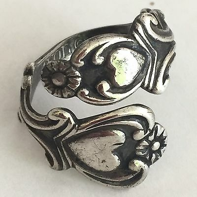 Vintage Estate Signed Avon 925 Sterling Silver Daisy Spoon Sz 7 Ring Adjustible