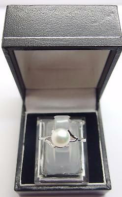 925 Sterling Silver ring 5mm Freshwater Cultured Pearl Ring Size O UK 7 US #Q1