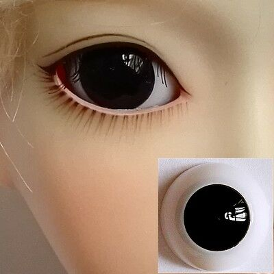 Pupilless Plain Black - BJD Eyes - 8mm 10 12 14 16 18 20 22 SD13 Doll Dollfie
