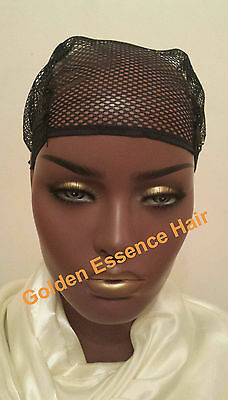 Wig Cap Wig Making Crochet Braiding Mesh Net Adjustable Straps *Black