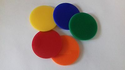 Laser Cut 3mm Coloured Acrylic Circles Discs Various Colours Size 30mm to 60mm