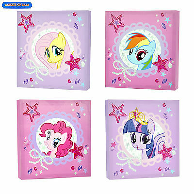 My Little Pony 4-Piece Canvas Wall Art Kids Childrens Room Decor