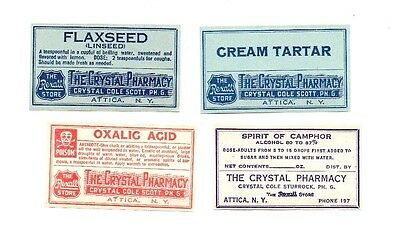 4 DRUG STORE BOTTLE LABELS of THE CRYSTAL PHARMACY ATTICA NY C C STURROCK PH G