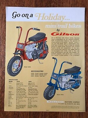 Vintage Gilson Mini / Trail Bikes Brochure Advertisement 1971 Motorcycle Moped
