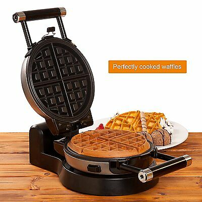 360 Rotating Electric Belgian Waffle Maker w/ Removable Non-Stick Plates