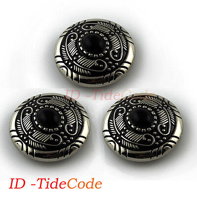 3pc Western Silver Black Turquoise Conchos Vintage Leathercraft Screw Back