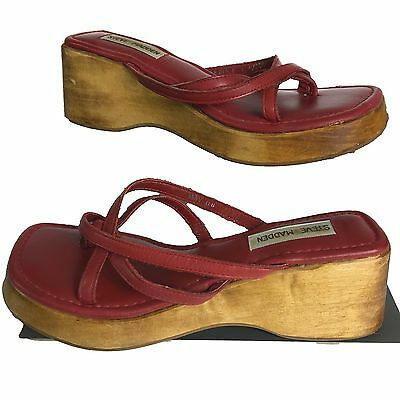 7381f85e7225 Steve Madden Leather Platform Sandals Womens Vintage 90s Red Wood Size 8  Chunky