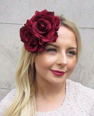 571aecf446 Large Double Burgundy Wine Red Rose Flower Hair Clip Rockabilly 1950s Vtg  2703