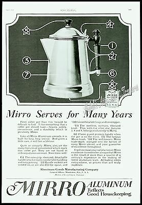 1920 MIRRO Aluminum COFFEE POT Vtg Kitchen Stove Top Household Cookware PRINT AD