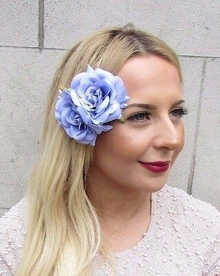 Light Lilac Purple Double Rose Flower Hair Clip Rockabilly Fascinator 1950s 2711
