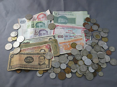 Mixed Lot of Collectible Foreign Currency Coins Paper Notes 1+lbs.