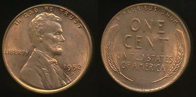 United States, 1952-D One Cent, Lincoln Wheat - Uncirculated
