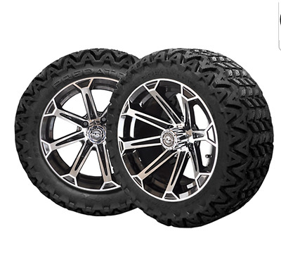 "14"" Vortex Mach & Black Wheels 23"" Predator All Terrain Tires Golf Cart Lifted"