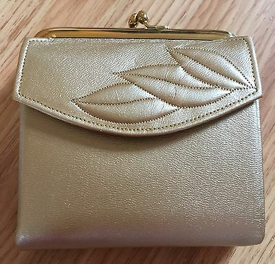 Vintage Women's Prince Gardner Wallet, Gold Leather Trifold with Coin Purse