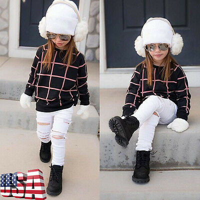 Toddler Kids Girls Outfit Clothes Set Grid Plaid T-shirt Tops Ripped Jeans Pants