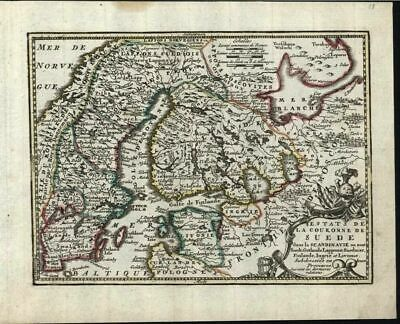 Sweden Livonia Moscovy Baltic Scandinavia c.1760 de Leth scarce Chiquet old map