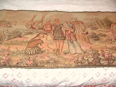 """Large Antique Vintage French Wall Hanging Tapestry  57 1/4"""" x 19 1/4"""" Soldiers"""