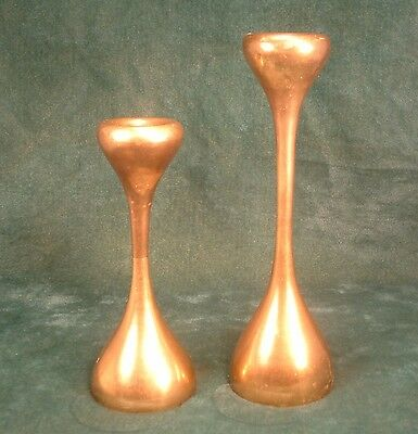 Pair of Vintage Mid Century Danish Modern Brass Candlesticks