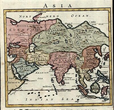 Asia Arabia Persia China India Tartary Siam 1701 lovely rare Moll antique map