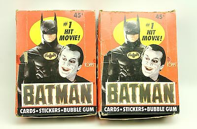 (2) 1989 Topps Batman 36-ct Box of Wax Packs (9 Cards & 1 Sticker per Pack)